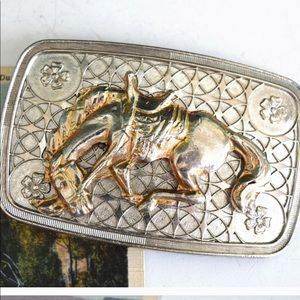 "Accessories - Vintage 3.25"" Bowing Horse Belt Buckle"